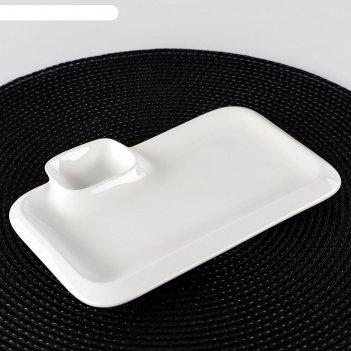 Блюдо прямоугольное с соусником 20х12 см