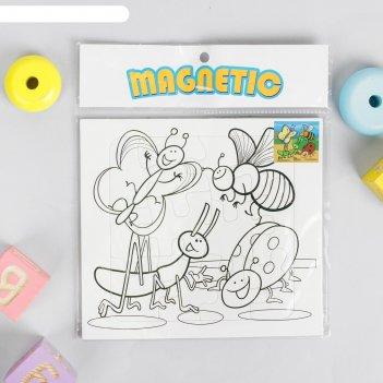 Раскраска - пазл магнитная жуки, 12 деталей, 3 фломастера
