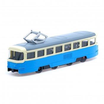 Трамвай металлический «город», инерционный, двери открываются, цвета микс