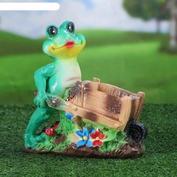 Садовая фигура лягушка с телегой