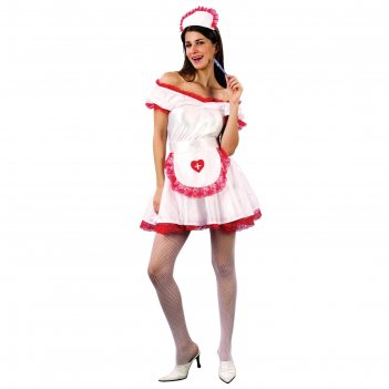 Карнавальный костюм медсестра, 3 предмета: платье, головной убор, фартук,