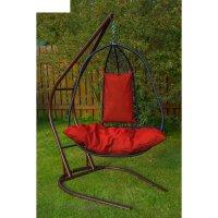 Подвесное кресло на стойке корфу, черное/красная