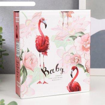 Фотоальбом на 100 фото 10х15 см фламинго и пионы 17,5х15,6х4,6 см