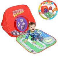 Палатка-домик гонщик c полем для игры + 2 игрушечные машинки