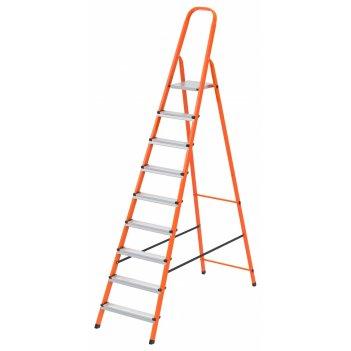 Стремянка, 9 ступеней, стальной профиль, ступени сталь, оранжевая, россия,