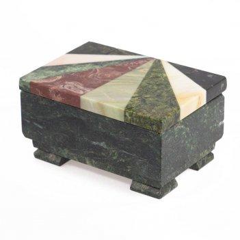 Шкатулка с мозаикой креноид змеевик офиокальцит мрамор 120х85х65 мм 800 гр