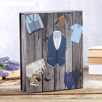 Фотоальбом на 200 фото 10х15 см мужской гардероб в коробке, об.элемент мик