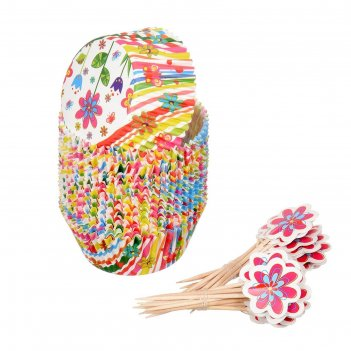 Набор для выпечки и украшения кексов весенний 24 формочки, 24 шпажки, цвет