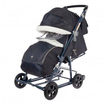 Санки-коляска «ника детям нд8-1к», колёса с камерой, принт в горошек, цвет