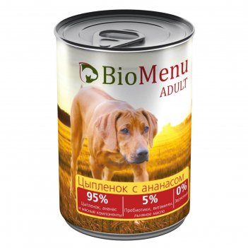 Консервы biomenu adult для собак цыпленок с ананасами 95%-мясо , 410гр