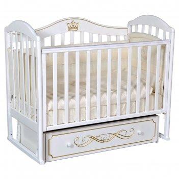 Кроватка «кедр» emily-2, универсальный маятник, ящик, цвет белый
