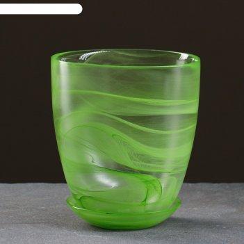 Горшок для цветов гармония №4 с поддоном, алебастр, 2 л, цвет зеленый