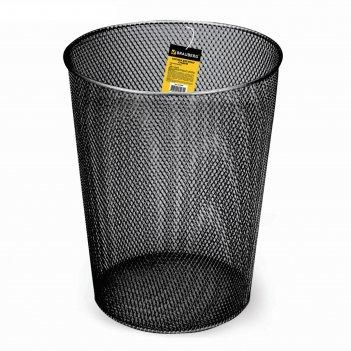 Корзина для бумаг 9 литров brauberg germanium, металлическая, чёрная