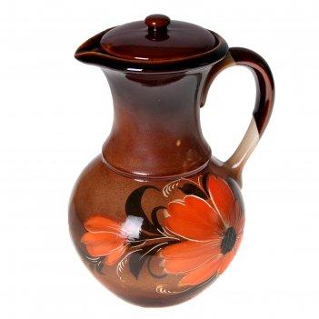 Кувшин 2,0л цветы с крышкой коричневый микс