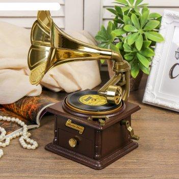 Шкатулка музыкальная граммофон механическая