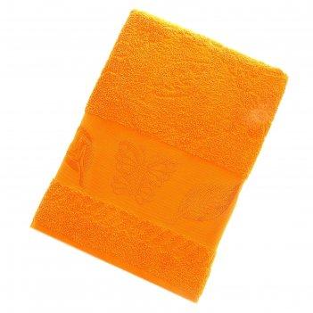 Полотенце махровое fiesta cotonn butterfly 70х130 см, цвет оранжевый, хлоп