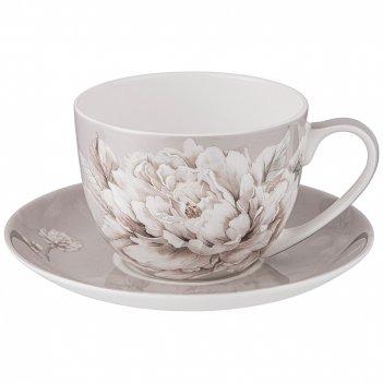Чайная пара lefard white flower  2пр. 330мл серая (кор=24наб.)
