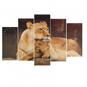 Часы настенные модульные «львица со львёнком», 80 x 140 см