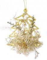 Подвеска елочка 27 см, золото