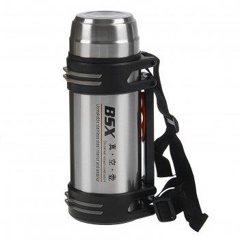 Термос спортивный, 1,8 л, 2 чашки, черный с металлом, ремень, 24 часа 11х1