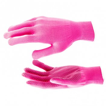 Перчатки нейлон, пвх точка, 13 класс, цвет розовая фуксия, l россия