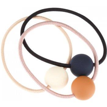 Резинки для волос dewal beauty цветные шарики, (3 шт.)