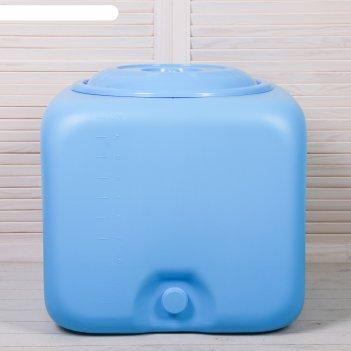 Бак для душа, 100 л, с крышкой, с резьбой под кран, зелёный