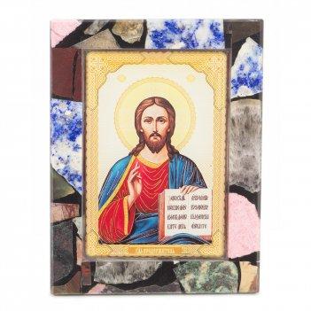 Икона настольная спаситель рамка мозаика из самоцветов 100х130х30 мм 240 г