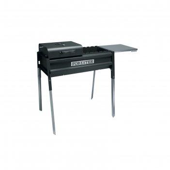 Мангал-термо forester bq-703, 74х30 см, с крышкой для гриля и столом 37,6х