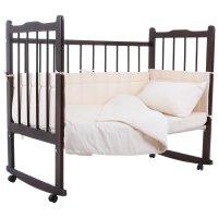 Комплект в кроватку 4 предмета горошки бежевый 10403