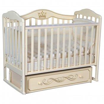 Кроватка «антел» alita-777, универсальный маятник, ящик, цвет слоновая кос