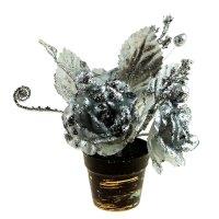 Композиция новогодняя в горшке 20 см букет с розами