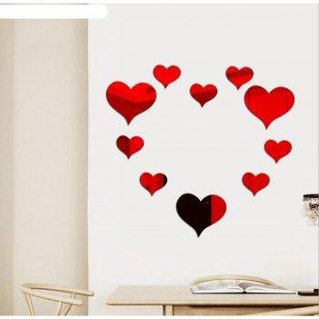 Декоративная наклейка сердце, 15х14см-3 шт, 10х9 см-7 шт, красный