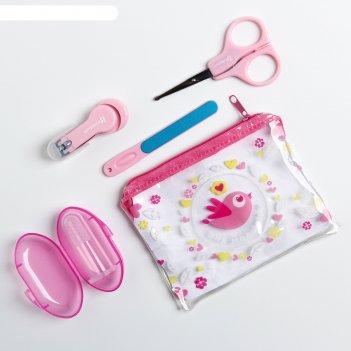 Набор маникюрный детский «для малышки», 4 предмета: ножнички, книпсер, пил