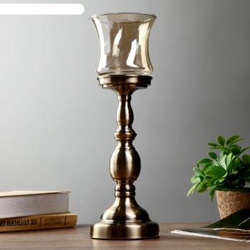 Подсвечник металл, стекло на 1 свечу рыцарский кубок латунь 45х12х12 см