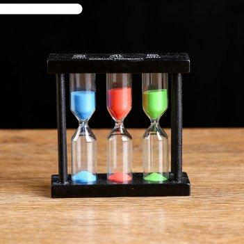 Часы песочные тройные на 3,4,5 минут, микс, 3х9 см