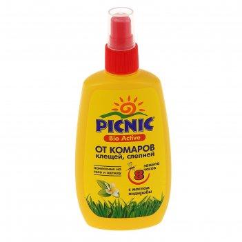 Спрей от комаров и клещей picnic bio active ,120 мл
