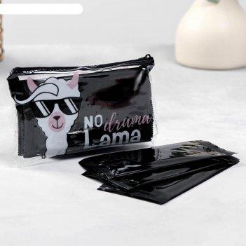 Влажные салфетки no drama в косметичке, 10шт, черные