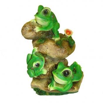Фигура декоративная садовая лягушата на камнях l26w19h36 с...
