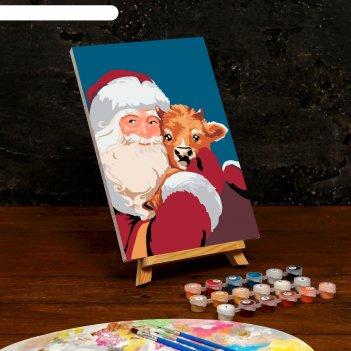Картина по номерам на холсте с подрамником «дед мороз с бычком» 20x30 см