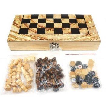Ни 3в1 шахматы, шашки, нарды, поле 34х34см