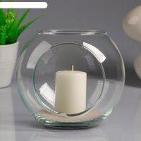 Ваза- шар стеклянная мате с двумя отверстиями и с белой свечей, 14,5x13 см