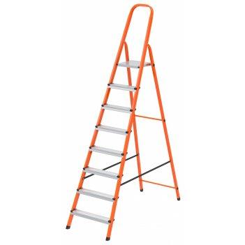 Стремянка, 8 ступеней, стальной профиль, ступени сталь, оранжевая, россия,