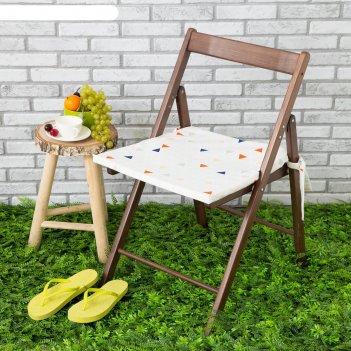 Подушка на стул уличная «этель» треугольники, 45x45 см, репс с пропиткой в