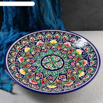 Ляган круглый «риштан», 41 см, цветной орнамент