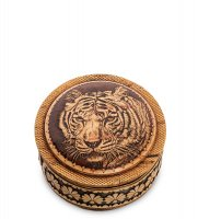 Bst-411/ 6 шкатулка тигр (береста, тиснение)