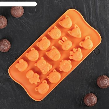 Форма для льда и шоколада 21x10,5 см «мордашки», 15 ячеек (2,5x2,3 см), цв