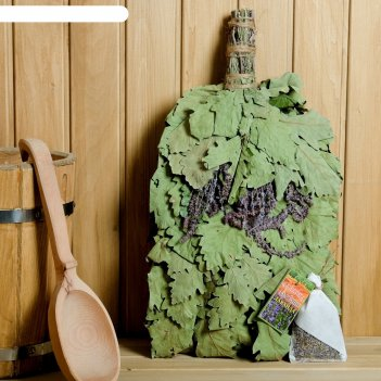 Веник для бани лавандовый прованс из кавказского дуба с лавандой, в индиви