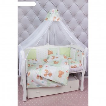 Комплект в кроватку «мишкин сон», 7 предметов, поплин, зелёный