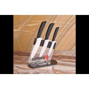 Набор из 3 кухонных керамических ножей samura в подставке ec